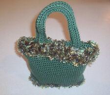 Hand Crochet Green with Fun Fur Trim Purse
