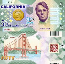 USA 50 Dollars California State #31 Fun-Fantasy Note Robert Frost Golden Gate Br