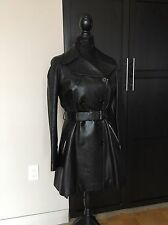 AUTH BLACK LEATHER BIKER TRENCH COAT With BELT AZZEDINE ALAIA SIZE 42 Fr NWT