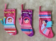 Set of 3 CHRISTMAS Stockings Angel Pink & Purple Decorative Russian Doll *EUC*