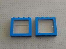 Lego - 2 x Blue Train Windows 1 x 4 x 3 Studs with Train Glass - 27