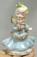 Vintage Lefton Porcelain Angel Bride's Maid Figurine with Pink Roses Blue Gown