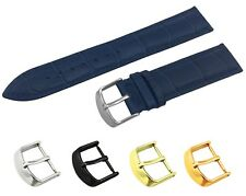 Navy Leather Croco Strap/Band fit Patek Philippe Watch Buckle 18 19 20 21 22mm