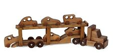 CAR CARRIER WOOD TOY Tractor Trailer Truck w 6 Wooden RACE CARS Homeschool PLAY