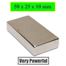 1pc Block 50x25x10mm SUPER STRONG N52 High Quality & POWERFUL Magnet Neodymium