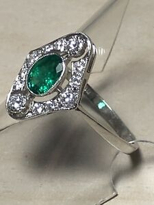 Platinum. Natural Emerald & Sparkling Diamond Ring Size O. U.S. Size 7.5