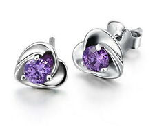 Fashion Women Solid 925 Sterling Silver Heart Crystal Ear Stud Earrings Jewelry