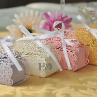 Luxury Cut-out Rose Design wedding Sweets Favour Candy Boxes With Ribbon Ties