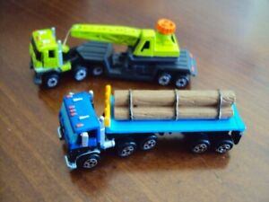 Lot of 2 Vintage Micro Machines Log Truck and Crane Truck