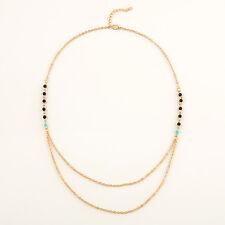 Boho Style Ladies Double Thin Chain Beads Choker Chunky Statement Bib Necklace