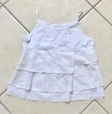 Haut Tee shirt à bretelles fille KOOKAI en coton écru motifs fleurs 10 ans