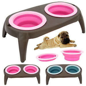 Collapsable Double Twin Bowl Stand Raised Feeding Wet Dry Food Water Dog Cat