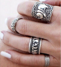 4PCS Silver Vintage Elephant Ring Set Women Retro Finger Rings Boho Style GY