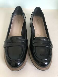 Clarks Somerset Griffin Milly Black Patent Leather Loafers Slip On Shoes UK 6 D