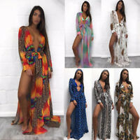 Women Chiffon Kimono Blouse Coat Boho Floral Cardigan Beach Bikini Cover Up Tops