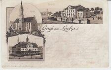 Ansichtskarte Thüringen  Gruß aus Lucka  Bahnhof  Rathau  Kirche 1893 Lokomotive