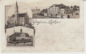 Carte Postale Thüringen Gruß De Lucka Gare Rathau Église 1893 Locomotive