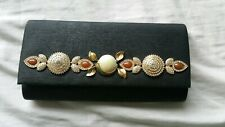 Clutch Bag Black Pearl Diamonte Gold