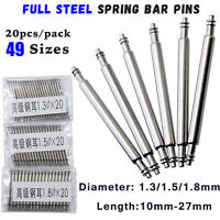 20pcs 10-27mm Stainless Steel Spring Bar Watch Band Release Pins D1.3 1.5 1.8mm