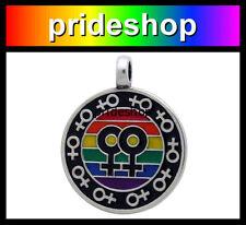 Rainbow Female Symbol Pewter Pendant Necklace Grl Lesbian Women Pride #80