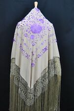 Spanish Stunning Flamenco silk Piano rose floral  Shawl Hand Embroidery G1048