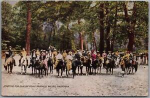 "YOSEMITE NATIONAL PARK Calif. Postcard ""Starting for Glacier Point"" PNC c1920s"