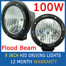 "PAIR 100W 9"" HID Xenon Driving Lights Floodlight 9 Inch OffRoad Lamp Flood Beam"