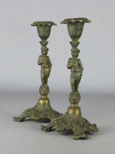 Couple Antique Holder Candle French Bronze With Statue Beginning Xx Century