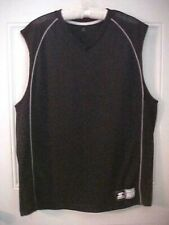 Starter Sports Top Mens Shirt Size L 42-44 Black White Piping Mesh Panels New