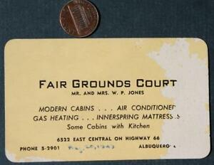 1949 Albuquerque,New Mexico Fair Grounds Motel business card-Highway Route 66!*
