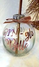 Rose Gold Personalised Christmas Bauble Drinking Glass Gin Stainless Steel Straw