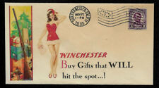 1935 Winchester & Sexy Lady Featured on Xmas Collector's Envelope *OP210