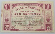 Billet de Nécessité Verviers 10 centimes 14-18 WOI Noodgeld Liège