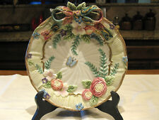 "Fitz and Floyd Sri Lanka Butterfly Ribbon Bow Flowers Gold Trim 9 1/2"" Plate"