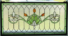 "Tiffany Style Stained Glass Window Panel ""Fleur De Lis"" 32"" x 16"" FREE SHIP USA"