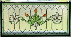 "Tiffany Style Stained Glass Window Panel ""Fleur De Lis"" 32"" x 16"" FREE SHIP USA"