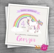 Personalised Girls Unicorn Birthday Card 1st 2nd 3rd 4th Daughter, Niece, Sister