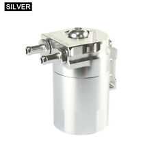 SILVER Cylinder Aluminum Engine Oil Catch Can Tank Reservoir Breather Filter Kit