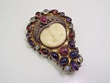 Sajen Sterling Silver Multi Gemstones Large Goddess Moon Face Brooch Pendant
