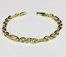 "14k Solid Yellow Gold (Figaro Pattern) ROLO Link Men Bracelet 6.25"" 12 grms 5 MM"