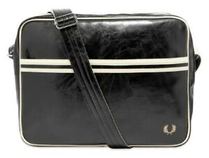 FRED PERRY CLASSIC SHOULDER BAG BLACK/ECRU MEDIUM L7221 D57 NEW WITH TAGS