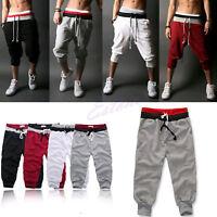 HOT Mens 3/4 Knee Sports Rope Baggy Pants Jogger Trousers Capri Loose Shorts DD