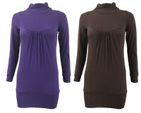 Womens Ladies Long Sleeve Turtle Polo Neck Top Plain Front Hanky Tops Size 8-14