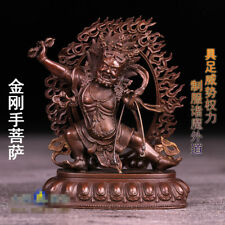 "4"" Antique Tibetan Buddhism Red copper hand made Vajrapani statue"