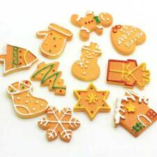 10Pcs Cookies Snowman Flat Back Resin Cabochon Fake Biscuits Phone Hair Crafts