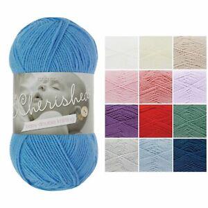KING COLE CHERISHED DK Double Knit Knitting Crochet Baby Wool 100g ANTI-PILL