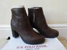 U.S.POLO ASSN. Womens Brown Leather  Boots 5 UK/38 New with box