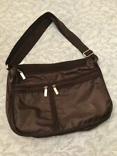 Light & large black nylon expandable multi zip travel shoulder/crossbody handbag