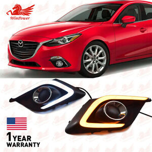 DRL FOR MAZDA 3 AXELA 2014 2015 LED DAYTIME RUNNING LIGHT FOG LAMP W TURN SIGNAL