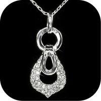 18k white gold gp made with Swarovski crystal pendant necklace fashion attitude